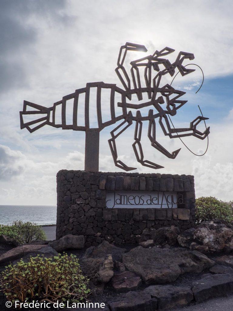 La sculpture symbole des Jameos del Agua (Haria) sur l'île de Lanzarote, Canaries