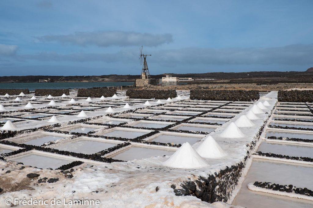 Des tas de sel sèchent aux Salinas de Janubio (Yaiza), Lanzarote