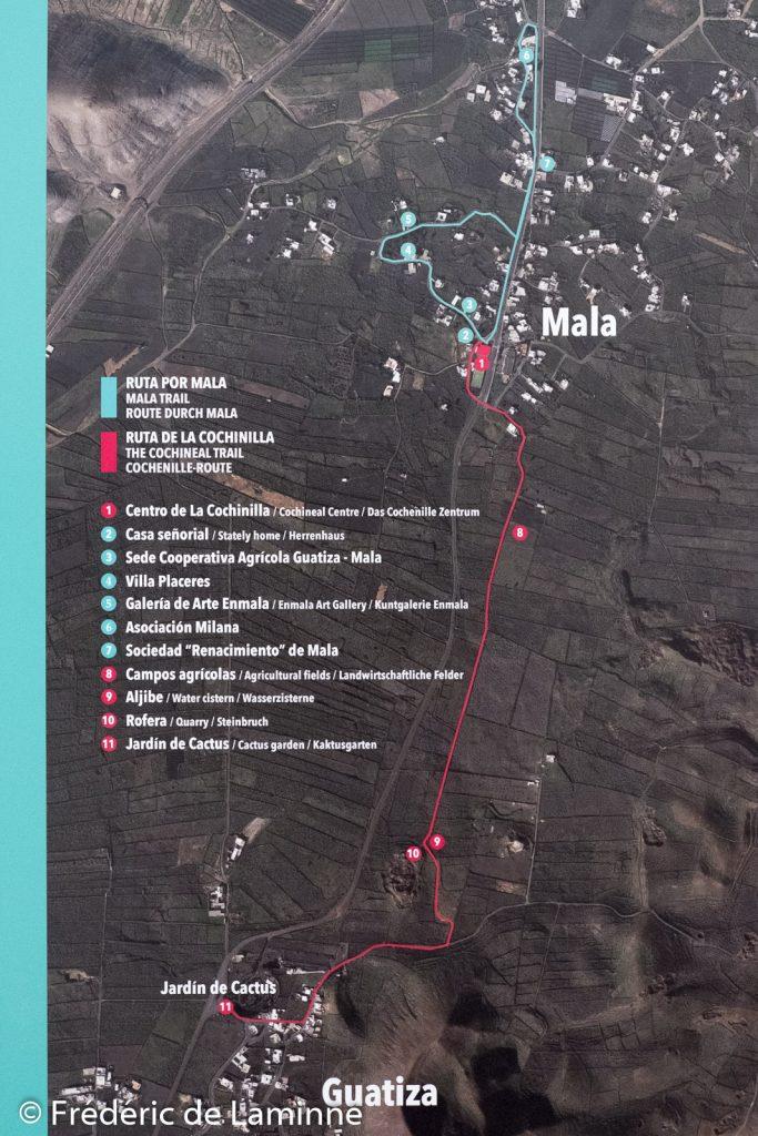 Les 2 promenades qu'il est possible de faire depuis le centre d'interprétation de la Cochenille (Mala) sur l'île de Lanzarote, Canaries.