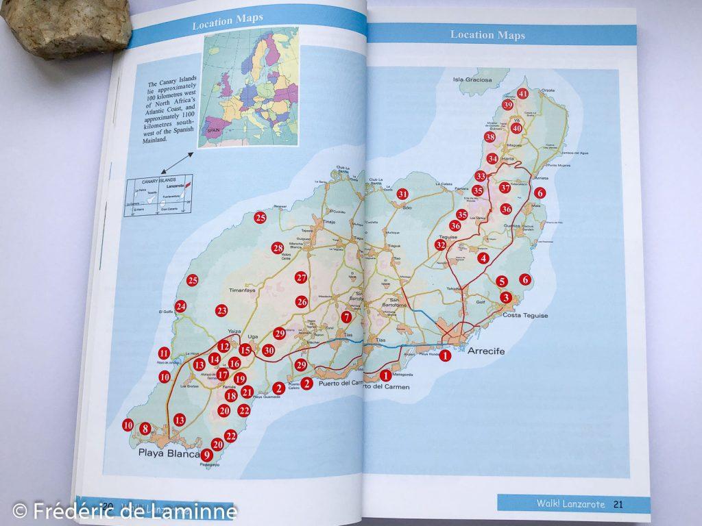 La carte montrant la localisation des randonnées détaillées dans le guide Walk Lanzarote.