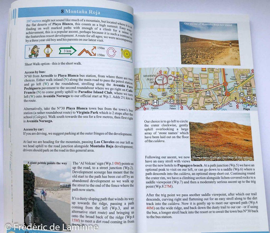 Exemple de page détaillant une randonnée dans le guide Walk Lanzarote