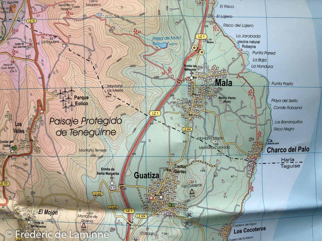 Détail d'une zone de la Carte Lanzarote tour & trail map