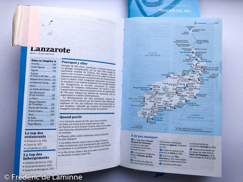 La partie consacrée à Lanzarote dans le guide Lonely Planet : Canaries