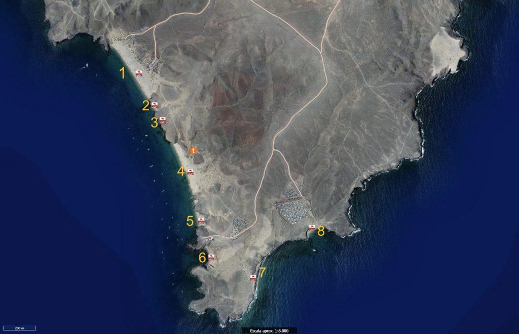 Plan situationnel des différentes plages de Papagayo